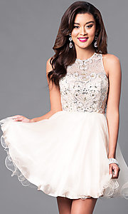 Image of fit-and-flare short illusion homecoming party dress. Style: DQ-9179 Detail Image 2