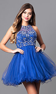 Image of fit-and-flare short illusion homecoming party dress. Style: DQ-9179 Detail Image 3