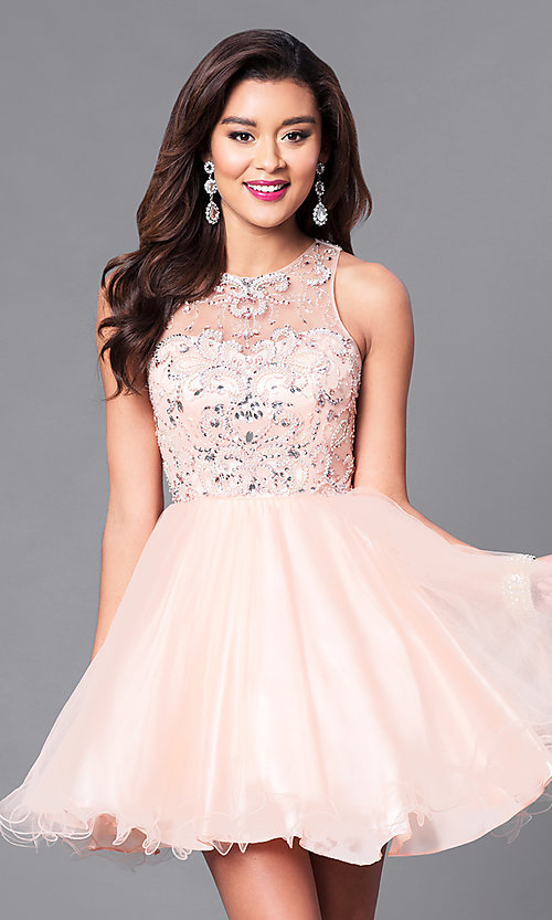 Image of fit-and-flare short illusion homecoming party dress. Style: DQ-9179 Front Image