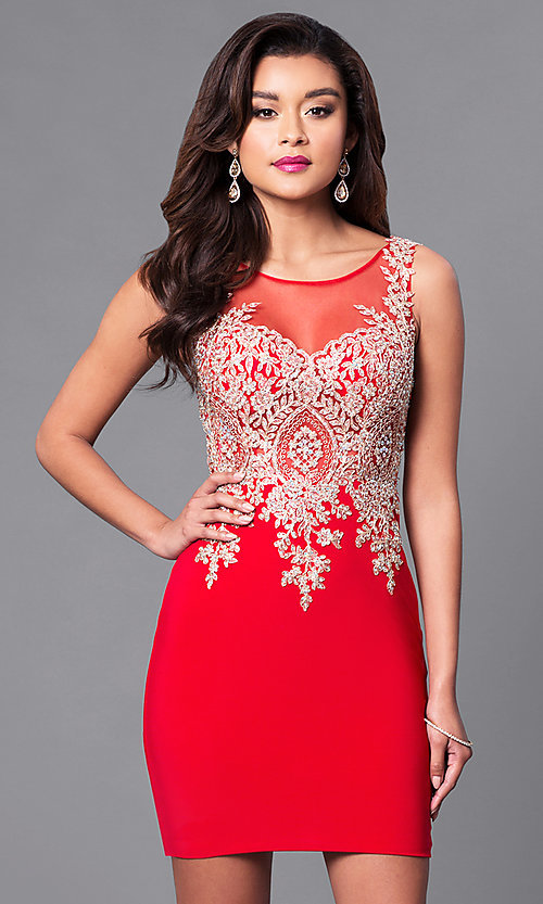 Image of short holiday party dress with beaded embroidery. Style: DQ-9219 Front Image