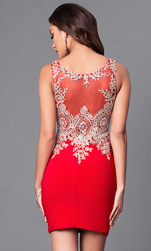 Image of short holiday party dress with beaded embroidery. Style: DQ-9219 Back Image