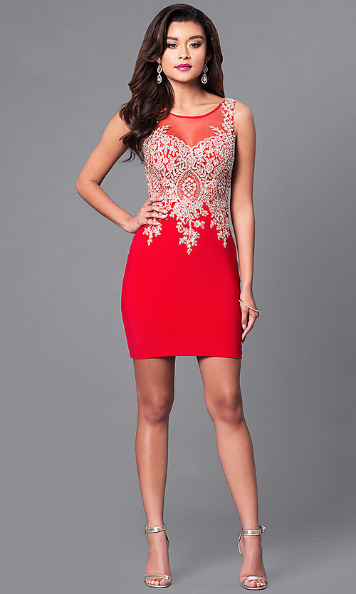 Image of short holiday party dress with beaded embroidery. Style: DQ-9219 Detail Image 1