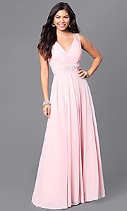 Image of formal long prom dress with v-neck and empire waist. Style: DQ-9539 Detail Image 3