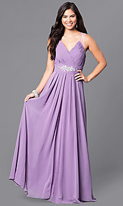Image of formal long prom dress with v-neck and empire waist. Style: DQ-9539 Detail Image 4