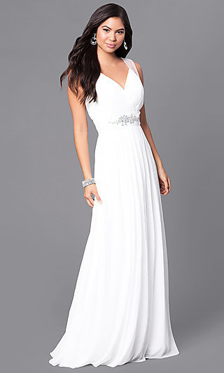 Cheap Prom Dress with Beaded Empire Waist