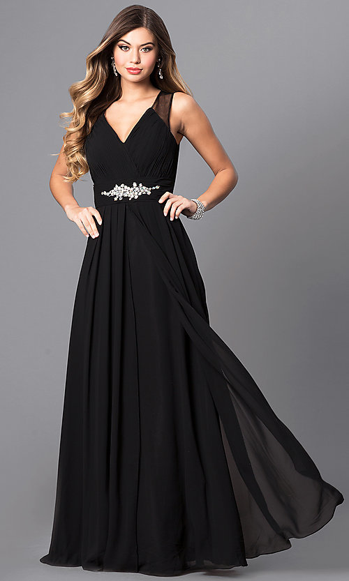 Image of formal long prom dress with v-neck and empire waist. Style: DQ-9539 Front Image