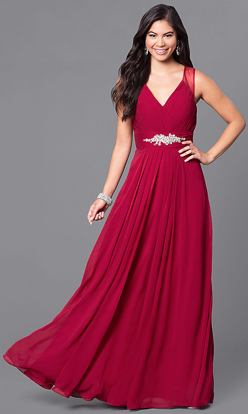 Image of formal long prom dress with v-neck and empire waist. Style: DQ-9539 Detail Image 1