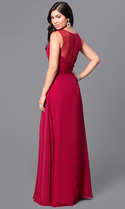 Image of formal long prom dress with v-neck and empire waist. Style: DQ-9539 Back Image