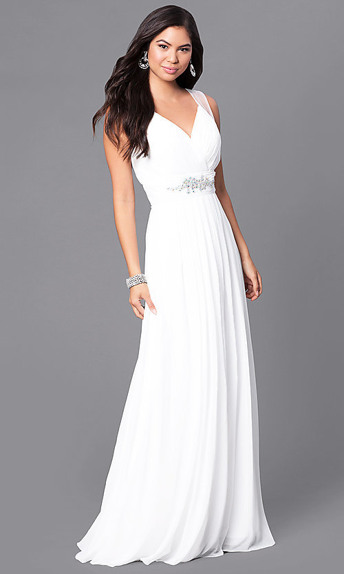 Image of formal long prom dress with v-neck and empire waist. Style: DQ-9539 Detail Image 2