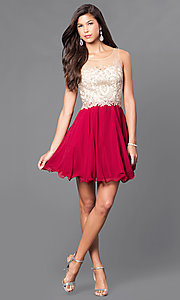Image of fit-and-flare short party dress with beaded bodice. Style: DQ-9552 Detail Image 2