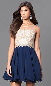 Image of fit-and-flare short party dress with beaded bodice. Style: DQ-9552 Front Image