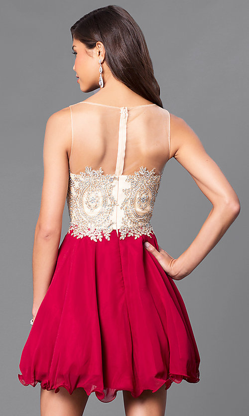 Image of fit-and-flare short party dress with beaded bodice. Style: DQ-9552 Back Image