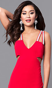 Image of cut-out long red prom dress with beaded straps. Style: DMO-J315606 Detail Image 1