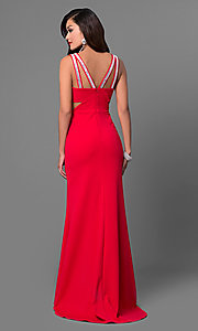 Image of cut-out long red prom dress with beaded straps. Style: DMO-J315606 Back Image