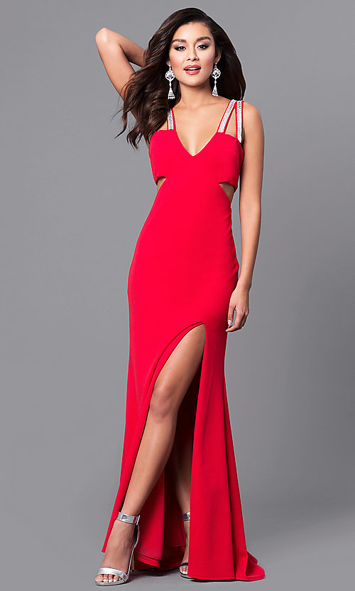 Image of cut-out long red prom dress with beaded straps. Style: DMO-J315606 Front Image