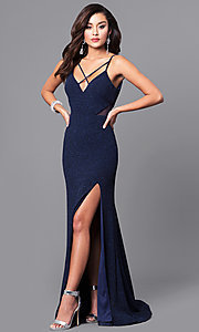 Image of v-neck long navy blue prom dress with glitter. Style: DMO-J315706 Front Image