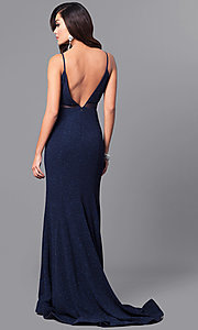 Image of v-neck long navy blue prom dress with glitter. Style: DMO-J315706 Back Image