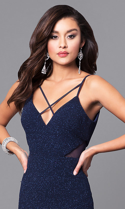 Image of v-neck long navy blue prom dress with glitter. Style: DMO-J315706 Detail Image 1