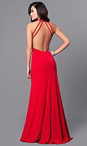 Image of open-back long red prom dress with beading. Style: DMO-J315966 Back Image