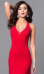 Image of open-back long red prom dress with beading. Style: DMO-J315966 Detail Image 1