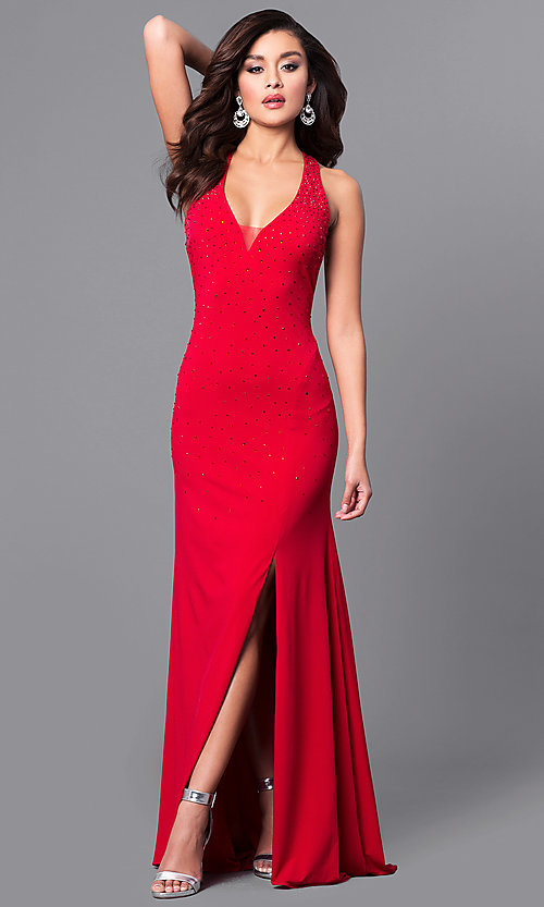 Image of open-back long red prom dress with beading. Style: DMO-J315966 Front Image