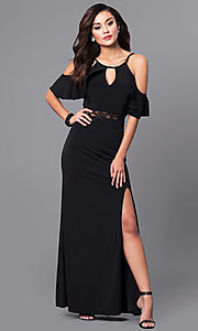 Image of long formal black prom dress with cold shoulders. Style: DMO-J315136 Front Image