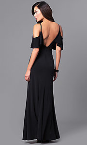 Image of long formal black prom dress with cold shoulders. Style: DMO-J315136 Back Image