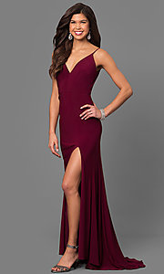 Image of wine red v-neck long prom dress with side slit. Style: DMO-J315996 Front Image