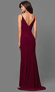 Image of wine red v-neck long prom dress with side slit. Style: DMO-J315996 Back Image