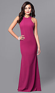 Image of long wine purple prom dress with lace applique. Style: DMO-J315856 Back Image