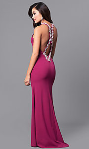 Image of long wine purple prom dress with lace applique. Style: DMO-J315856 Front Image