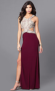 Image of wine red long prom dress with gold lace applique. Style: DMO-J315556 Front Image