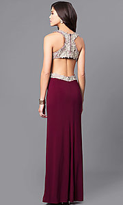 Image of wine red long prom dress with gold lace applique. Style: DMO-J315556 Back Image