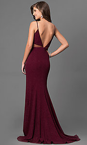 Image of burgundy red long prom dress with glitter print. Style: DMO-J315986 Back Image