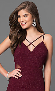 Image of burgundy red long prom dress with glitter print. Style: DMO-J315986 Detail Image 1