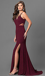 Image of burgundy red long prom dress with glitter print. Style: DMO-J315986 Detail Image 2