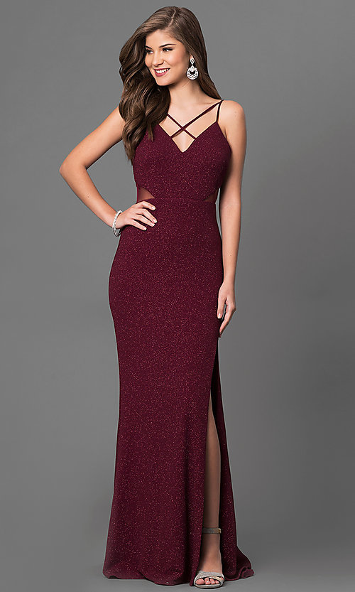Image of burgundy red long prom dress with glitter print. Style: DMO-J315986 Front Image