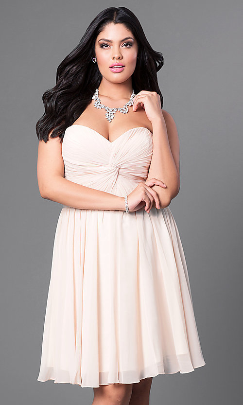 Image of corset-back short plus-size party dress in blush pink. Style: DQ-8951WPb Detail Image 3