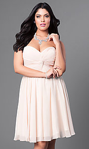 Image of champagne plus-size short party dress with corset. Style: DQ-8951WPc Front Image