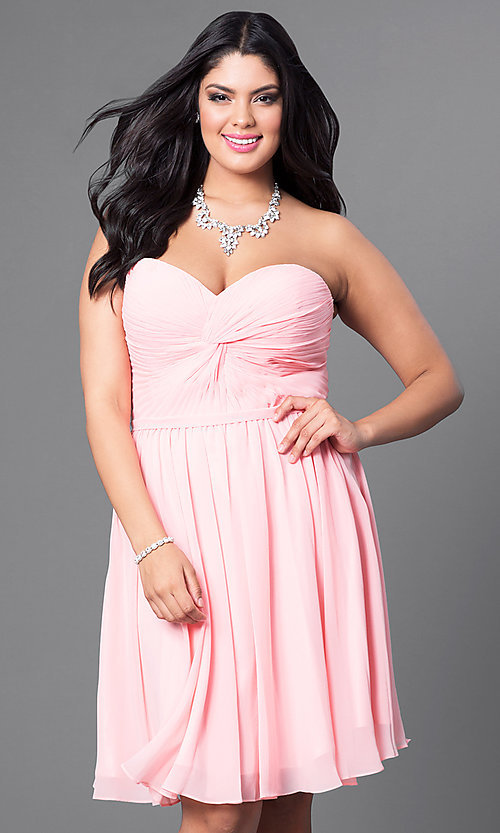 Image of champagne plus-size short party dress with corset. Style: DQ-8951WPc Detail Image 3