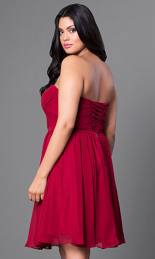 Image of champagne plus-size short party dress with corset. Style: DQ-8951WPc Back Image