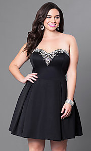 Image of satin short red plus-size party dress with corset. Style: DQ-9492Pr Detail Image 2