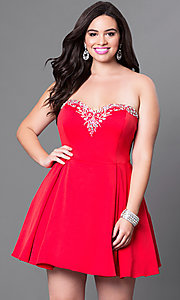 Image of satin short red plus-size party dress with corset. Style: DQ-9492Pr Front Image