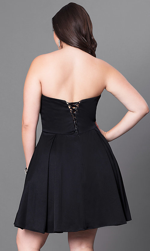 Image of satin short red plus-size party dress with corset. Style: DQ-9492Pr Back Image