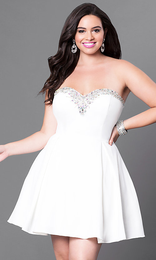 Image of satin short red plus-size party dress with corset. Style: DQ-9492Pr Detail Image 3