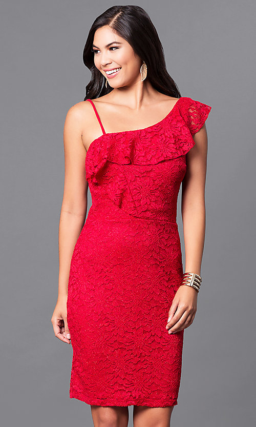 Short Red Lace Holiday Party Dress With Ruffle