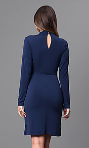 Image of short navy blue party dress with long sleeves. Style: BC-YDM64K84 Back Image