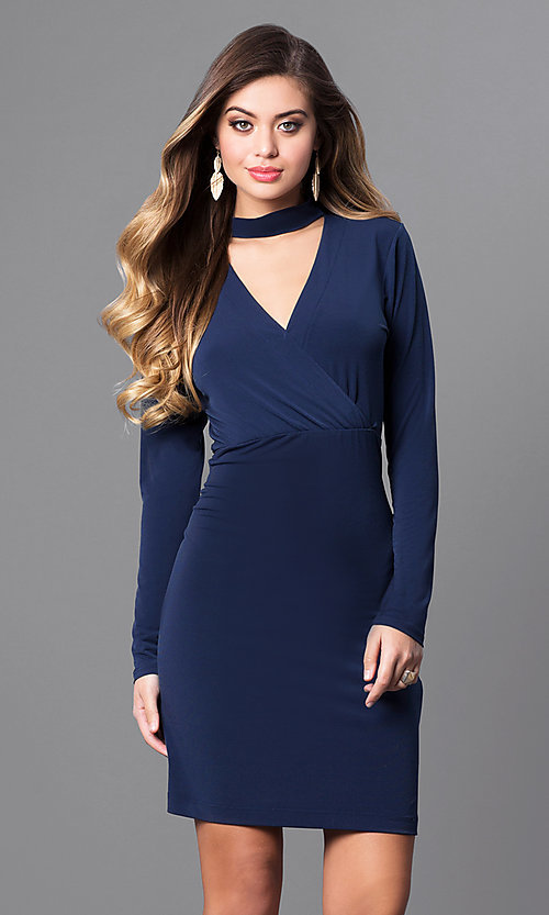 Image of short navy blue party dress with long sleeves. Style: BC-YDM64K84 Front Image