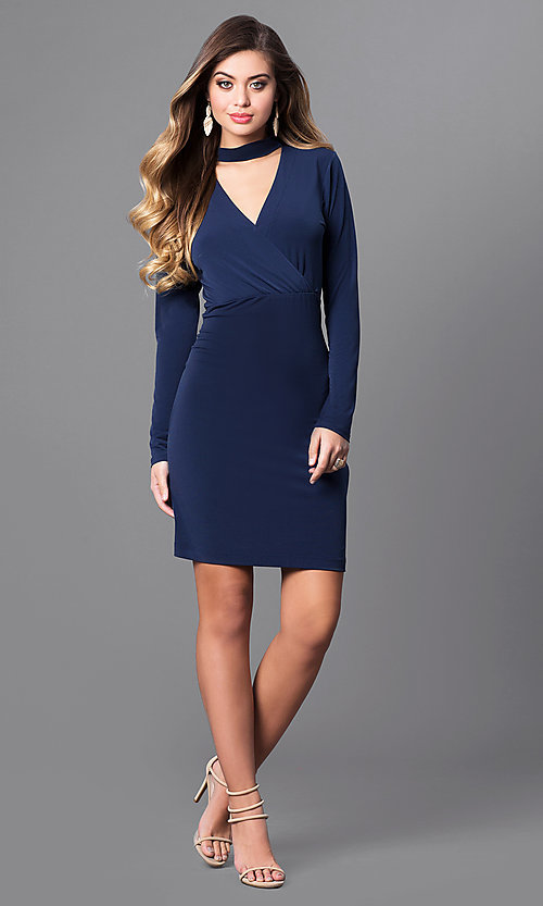 Image of short navy blue party dress with long sleeves. Style: BC-YDM64K84 Detail Image 1