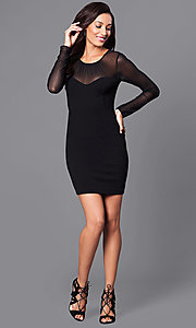 Image of short black party dress with sheer long sleeves. Style: BC-MCP64J29 Detail Image 1